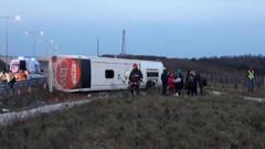 TEM'de otobüs devrildi: 6 yaralı var