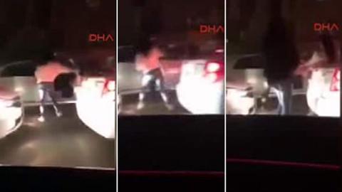 Genç kız, laf atan adamı aracın içinde yumruk ve tekmelerle dövdü
