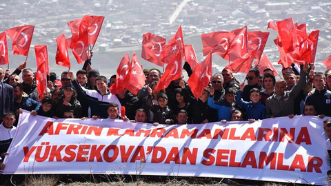 Hakkarililer Zeytin Dalı Harekatı'na destek yürüyüşü yaptı