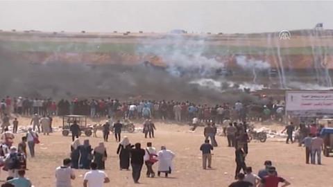 Gazze'de İsrailli askerlerin Filistinlilere saldırdığı anlar