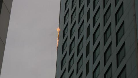 Maslak'ta gökdelende yangın çıktı
