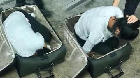 Valizin içinden kaçak kadın çıktı