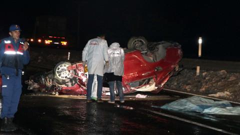 Kayseri'de bir araç şarampole devrildi
