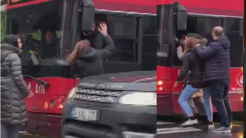 Kadınlar ile otobüs şoförü birbirine girdi