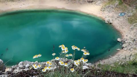 Sivas'ın turkuaz renkli gölü havadan görüntülendi