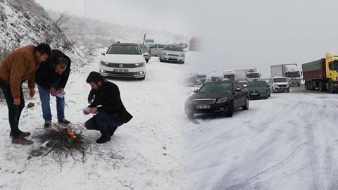 Kar yüzünden yol kapandı