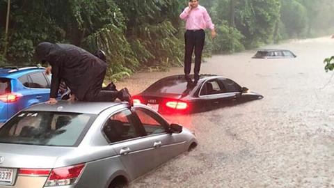 Washington'da sağanak yağış hayatı durma noktasına getirdi