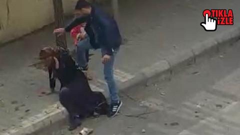Sokak ortasında kızının önünde darp etti