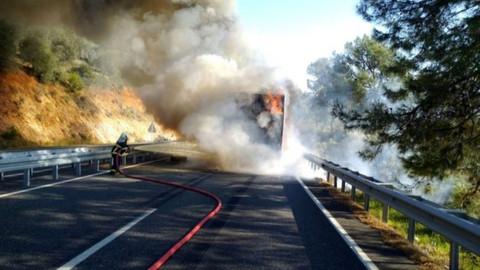 Muğla'daki TIR çıkan yangın sonrası tamamen yandı