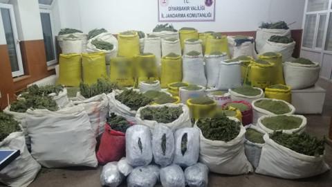 Diyarbakır'da 1 ton 724 kilo esrar, 587 bin kök kenevir ele geçirildi