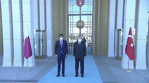 Katar Emiri Al Sani, Erdoğan tarafından karşılandı