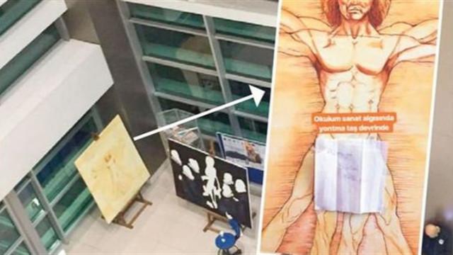 Üniversitede Leonardo da Vinci eserine sansür