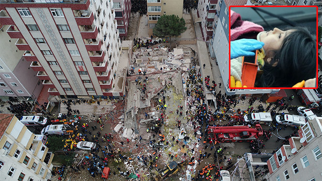 Kartal'da çöken binada enkazdan Havva isimli bir çocuk sağ kurtarıldı