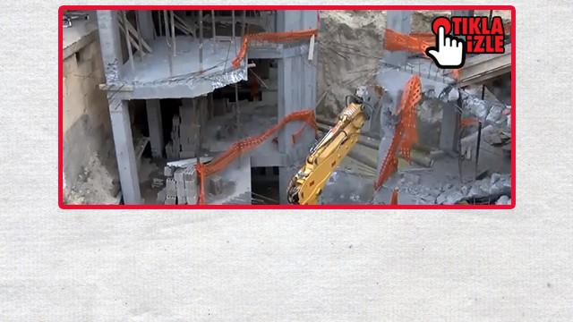 Peri Bacaları'ndaki inşaatın yıkımına başlandı