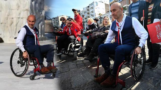 CHP'li Soyer tekerlekli sandalyeyle gezdi