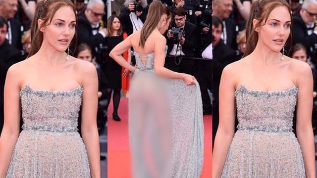 Festivalde giydiği transparan elbiseden görünen kalçaları ile ortalığı karıştırdı