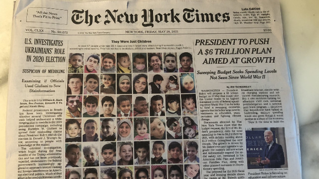 New York Times, öldürülen Filistinli çocukları kapağına taşıdı