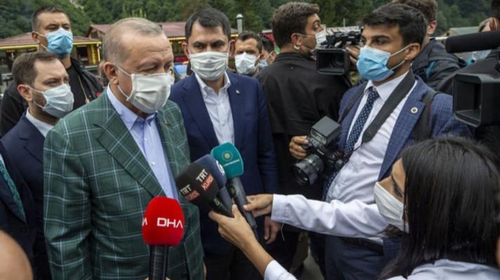 Cumhurbaşkanı Erdoğan selin vurduğu Rize'de