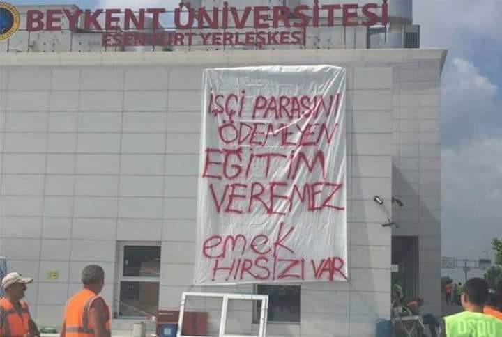 Beykent Üniversitesi inşaatında çalışan işçiler iş bırakma eylemi yaptı