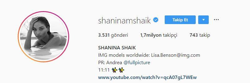 Shanina Shaik Instagram adresi
