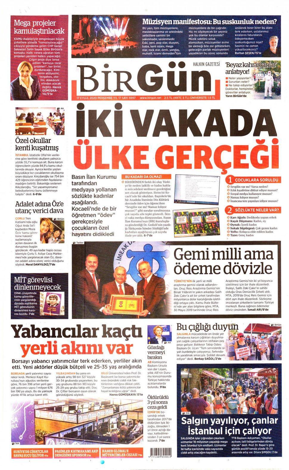 17 Eylül 2020 Perşembe gazete manşetleri! - Sayfa 4