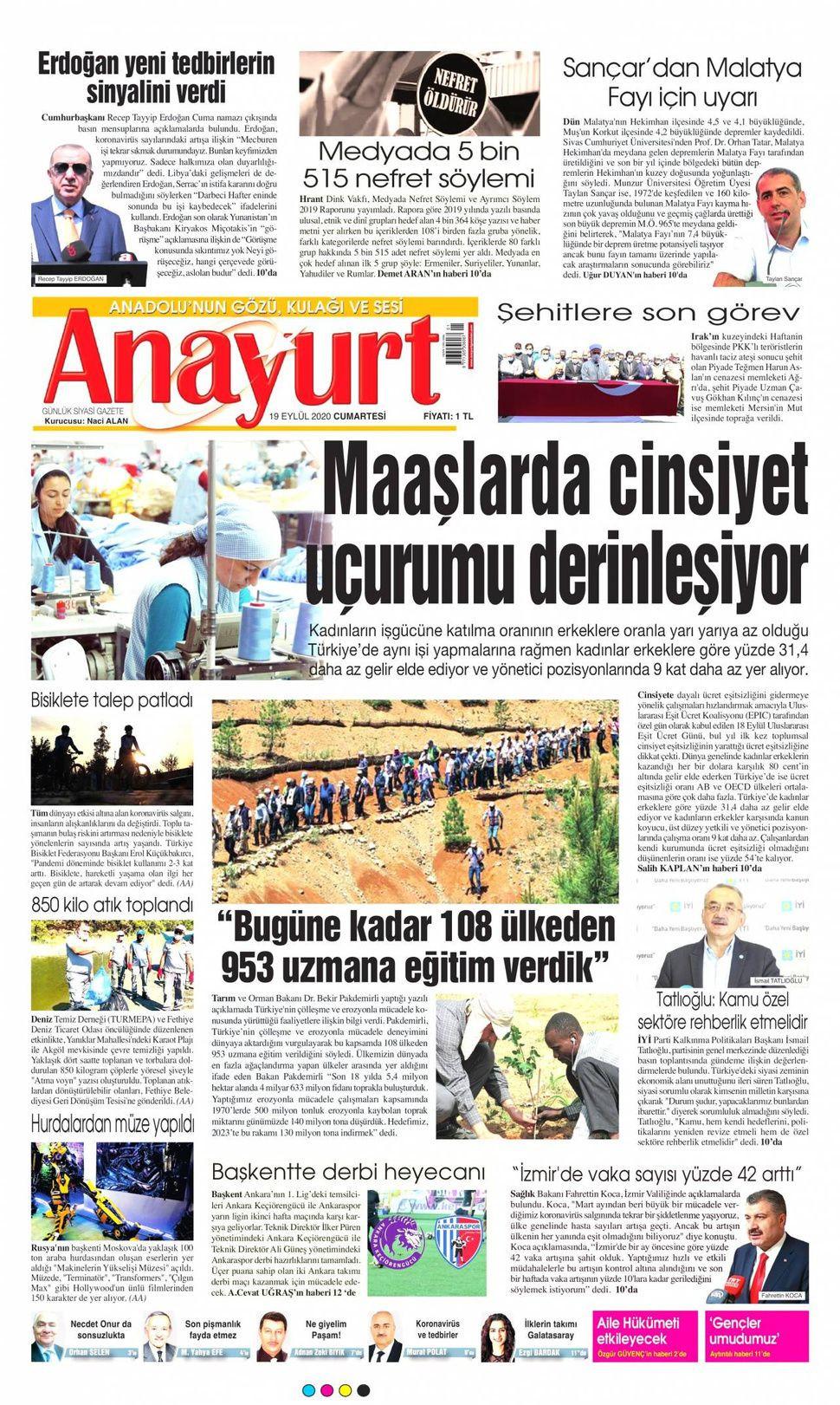 19 Eylül 2020 gazete manşetleri! - Sayfa 2