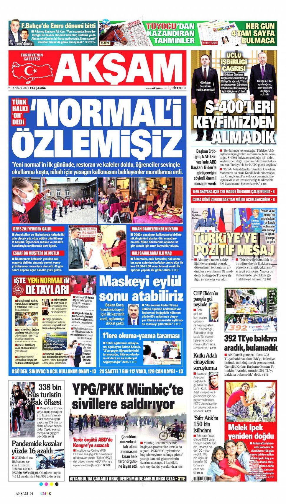 2 Haziran 2021 gazete manşetleri! - Sayfa 1