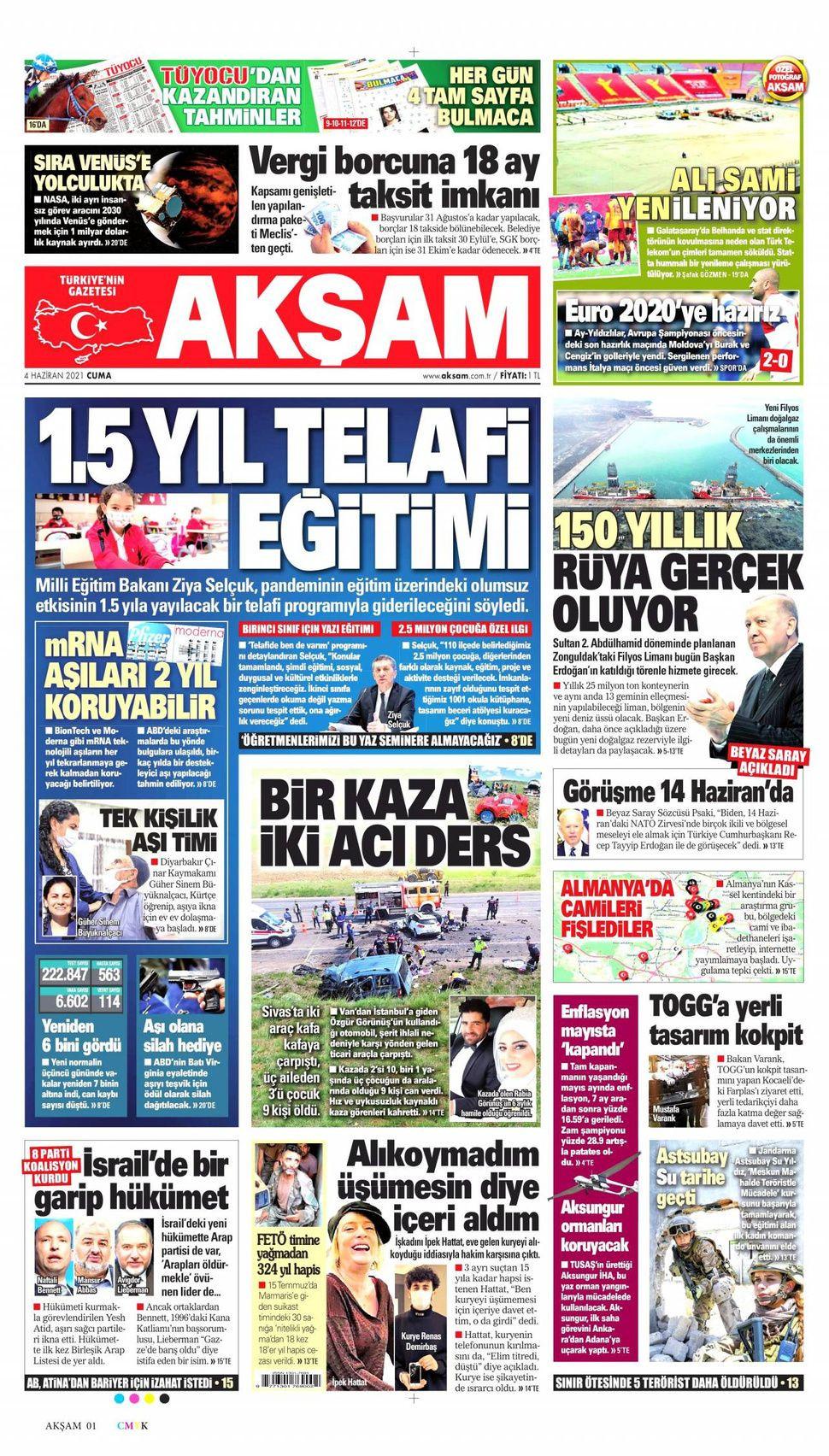 4 Haziran 2021 gazete manşetleri - Sayfa 1